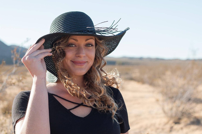15ef55874ae Amazon.com  Captain Big Floppy Beach Sun Hat Wide Brim Straw Hat for Women  Black Medium  Sports   Outdoors