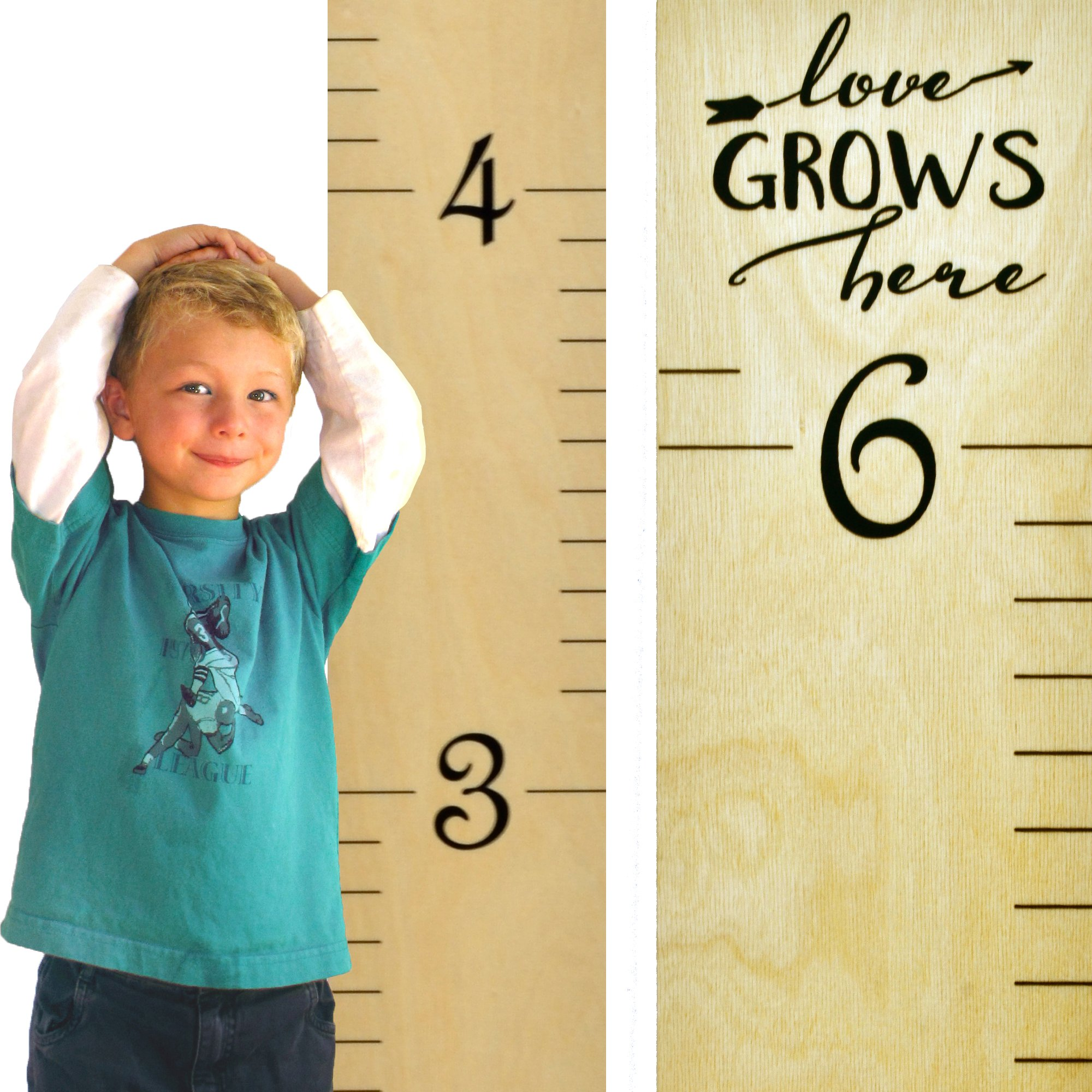 "Growth Chart Art | Wooden Wall Growth Chart Ruler for Kids, Girls + Boys | Measuring Kids Height Wall Décor | Naked Birch/Black Lettering ""Love Grows Here"""