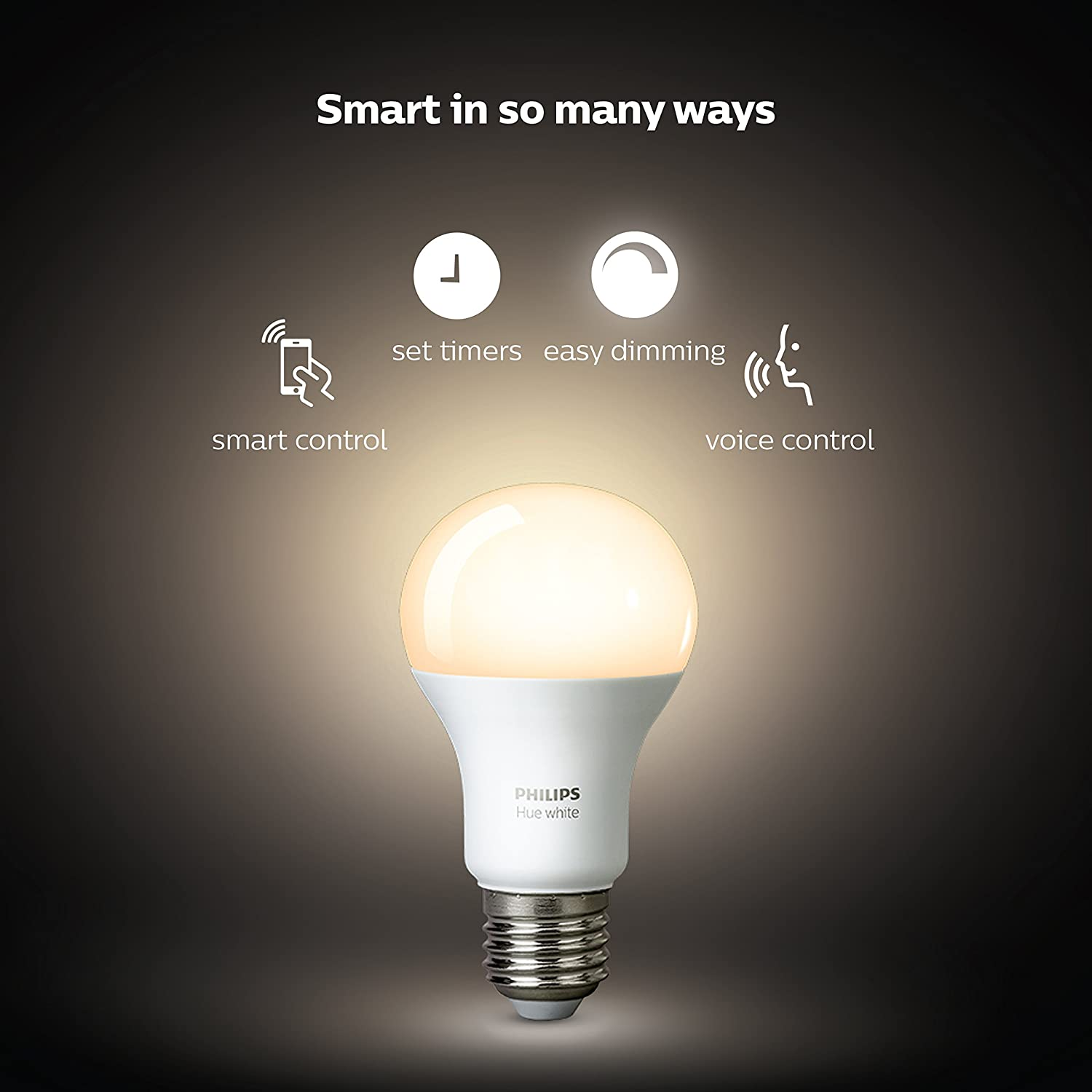 Philips Hue White A19 60w Equivalent Led Smart Bulb Starter Kit 4 Wire Inside The Called A Filament Lights Bulbs And 1 Hub Compatible With Amazon Alexa Apple Homekit Google