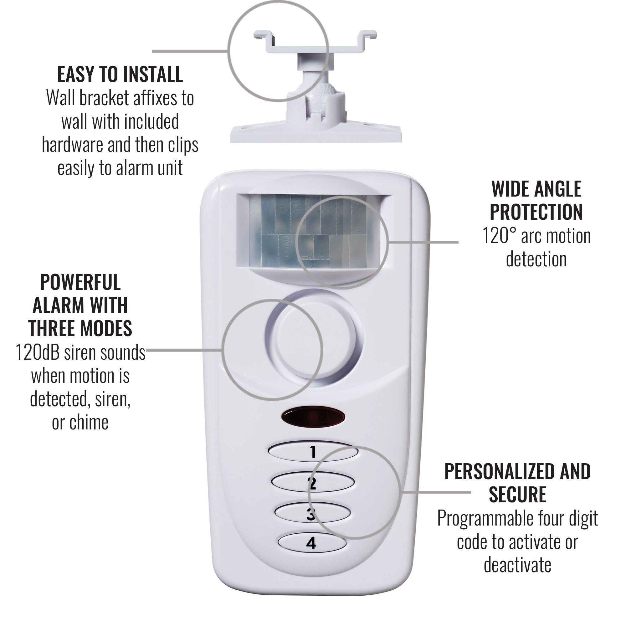 SABRE Wireless Motion Sensor Home Security Burglar Alarm with LOUD 120 dB Siren and 120 Degree Wide Angle Detection - DIY EASY Installation