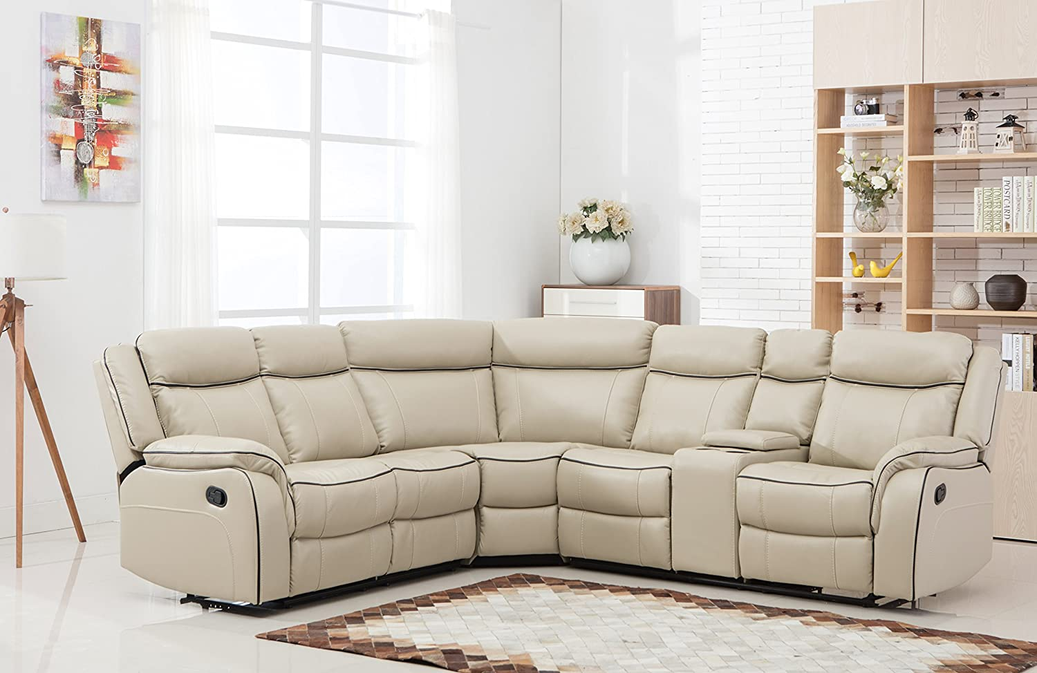 Amazon.com: Large Classic And Traditional Two Tone Bonded Leather Reclining  Corner Sectional Sofa (Beige): Kitchen U0026 Dining