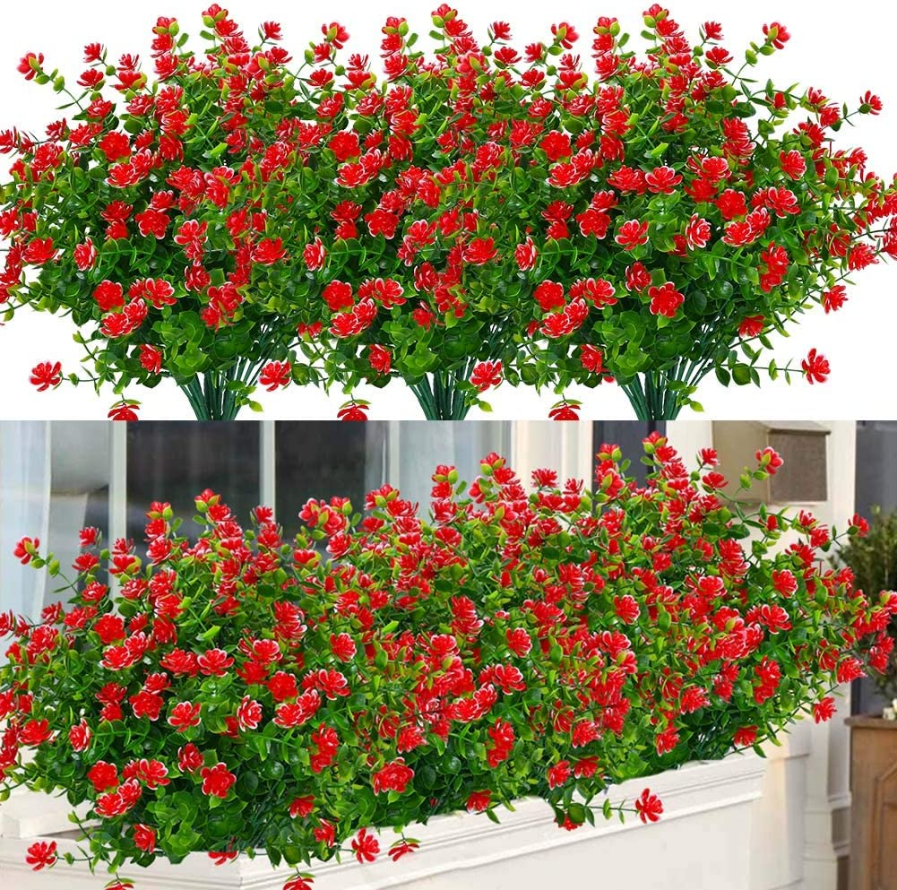 ArtBloom 6 Bundles Outdoor Artificial Flowers UV Resistant Fake Boxwood Plants, Faux Plastic Greenery for Indoor Outside Hanging Plants Garden Porch Window Box Home Wedding Farmhouse Decor (Red)