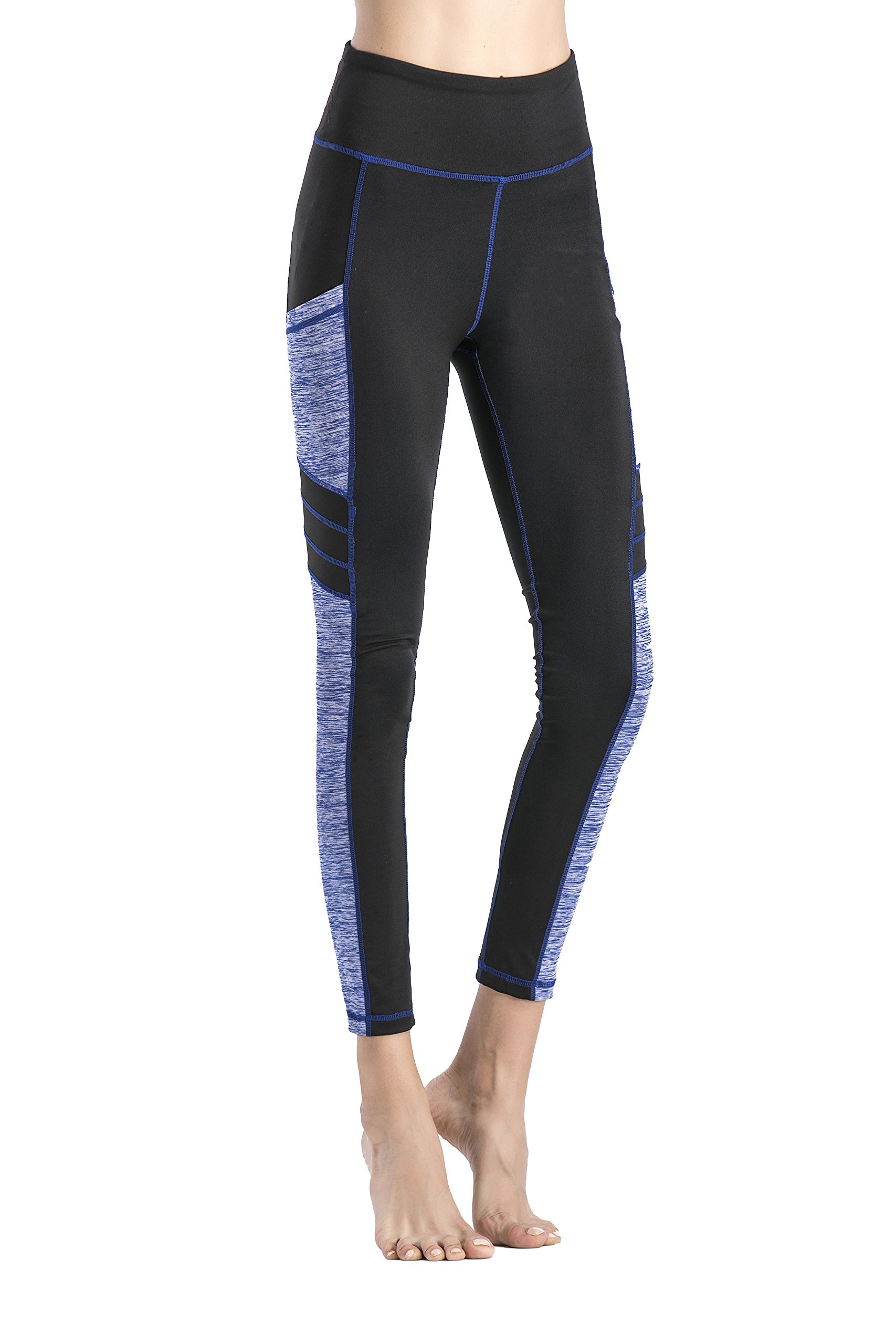IMIDO Women\'s Yoga Capri Pants Sport Tights Workout Running Mesh Leggings with Side Pocket (Long Pants Blue, S)