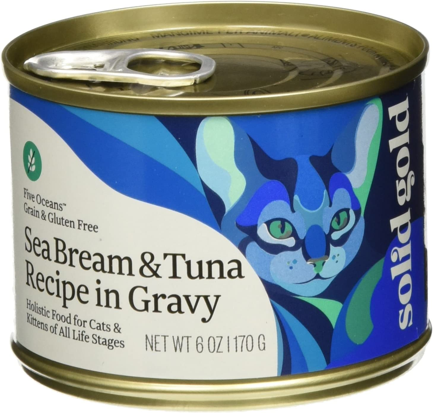 Solid Gold Five Oceans Sea Bream & Tuna Grain Free Canned Cat Food, 6 oz., Case of 8, 8 X 6 OZ