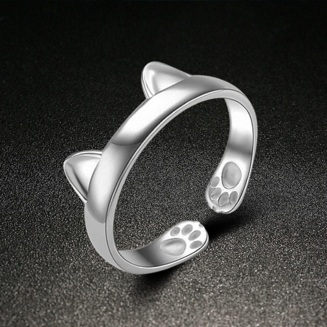 For Women Girl Lady DENER Silver Plated Cat Ears Ring Thumb Adjustable Pet Gift Ring