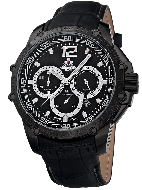 Rothenschild Armbanduhr Kalbsleder-Schwarz-Schwarz