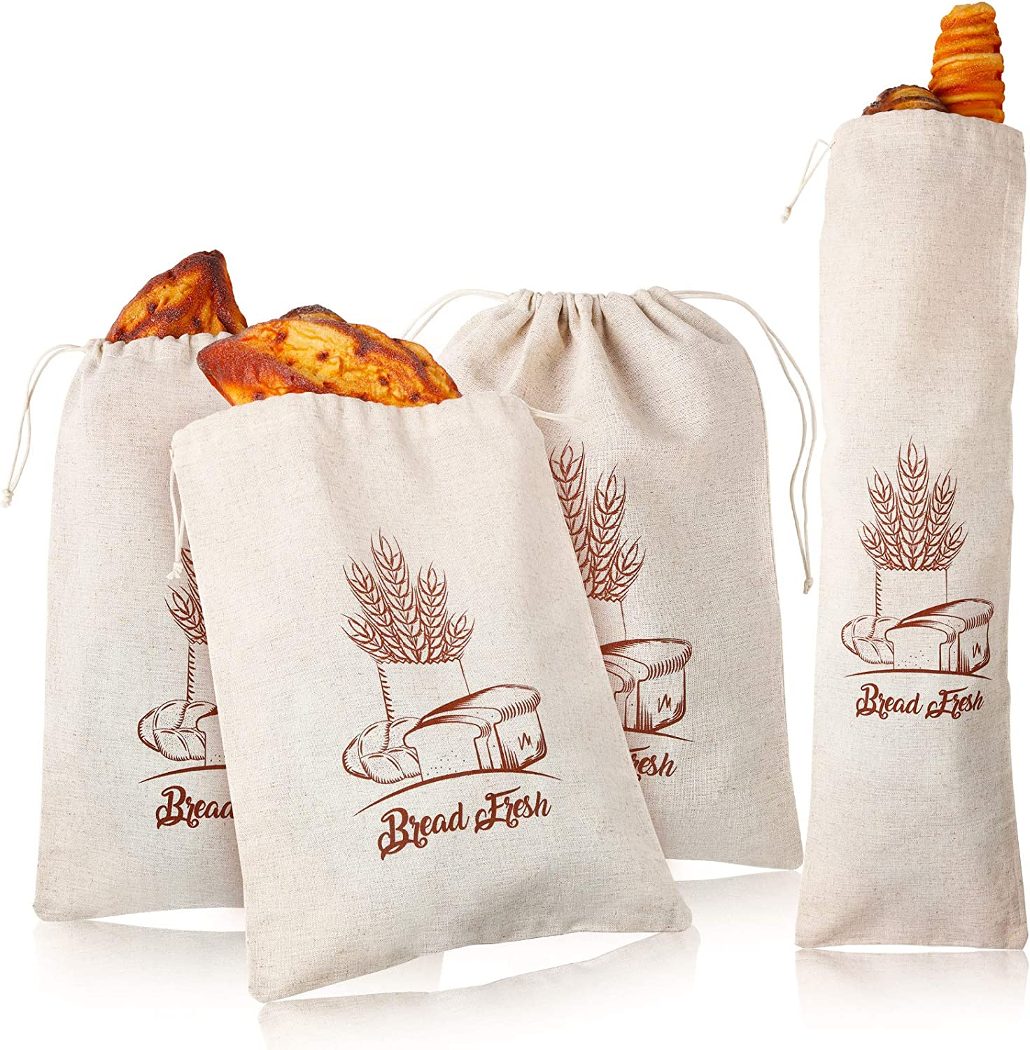 4 Pieces Linen Bread Bags Drawstring Bread Storage Bags Reusable Flax Bag Print Grocery Bags for Food Storage Loaf Homemade Bread Keep, 12 x 16 in and 27 x 8 in