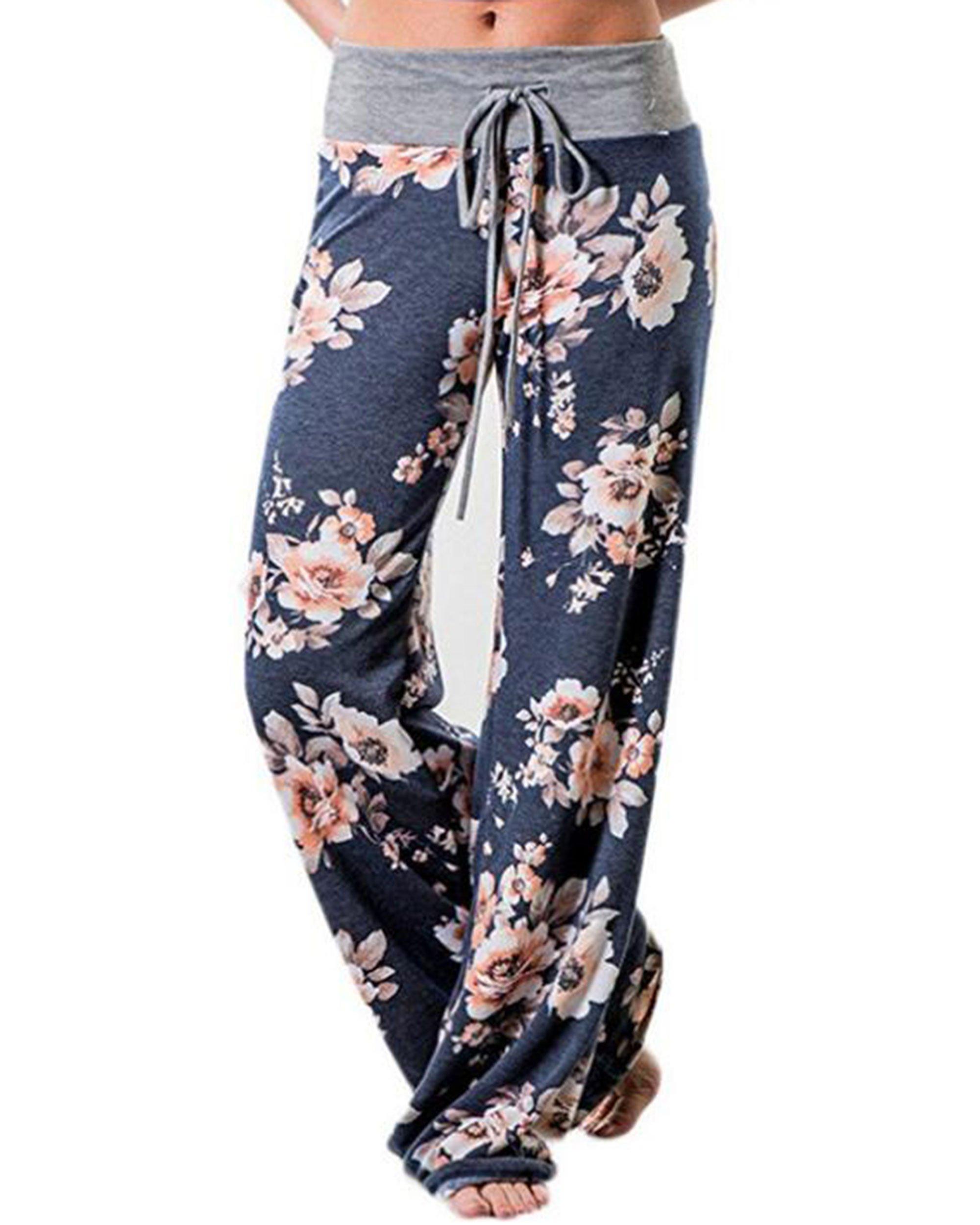 AceIce Women's Comfy Stretch Floral Print Lounge Pants Casual Drawstring Palazzo Pants Wide Leg Pajama Pants (Blue, Tag 3XL= US 14)