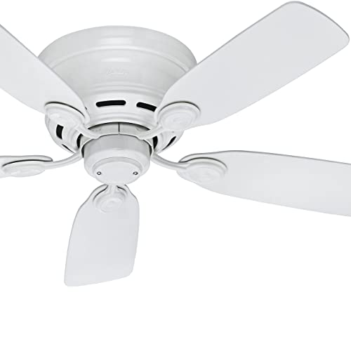 Hunter Fan 42in White Finish Low Profile Ceiling Fan with 5 White Blades Renewed