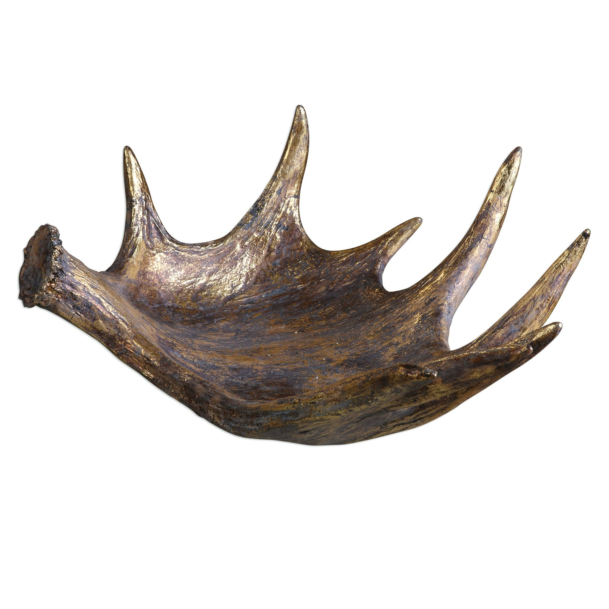 Elegant Rustic Faux Antler Centerpiece Bowl | Decorative Lodge Moose Sculpted