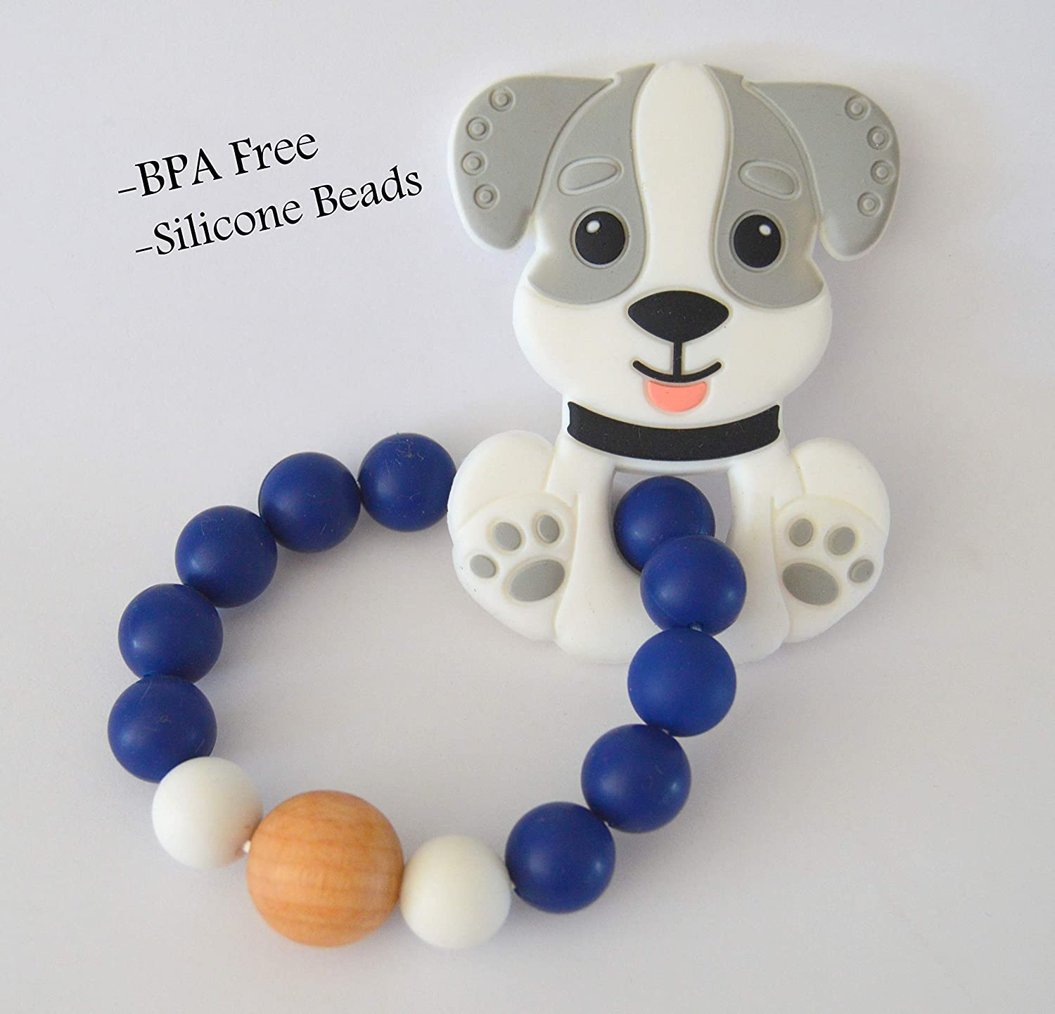 Black Premier HomeGoods BPA Free Baby Teething Toys Silicone Puppy Teether Chew Beaded Newborn Boys Girls Gifts
