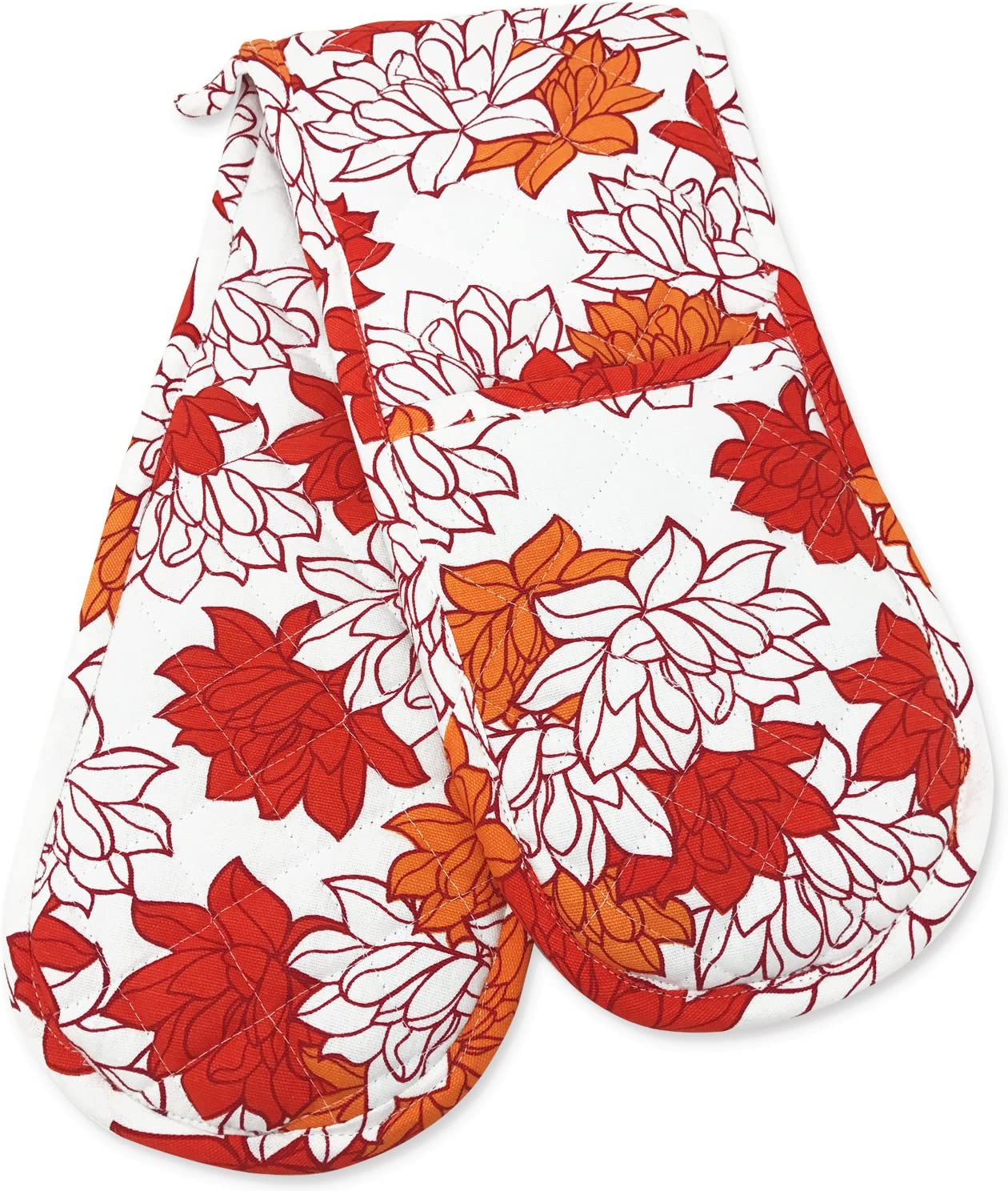 Double Oven Gloves, Smart Home, Pretty Orange Floral, 1 Piece, Long Mitts, Heat Resistant, 100% Cotton, Extra Thick, Quilted