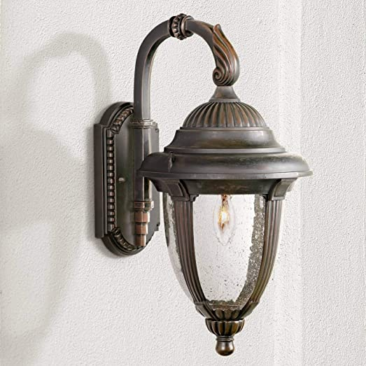 Casa Sierra Traditional Outdoor Wall Light Fixture Bronze Aluminum Colonial 18 1/2″ Clear Seedy Gla