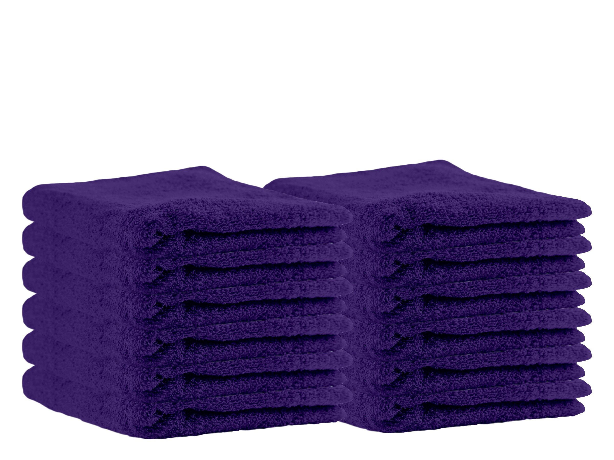 Puffy Cotton Luxury Washcloth Towel Set (12 Pack, 12x12 Inches) Multi-Purpose Extra Soft Fingertip Towels, Super Absorbent Face Cloths, Machine Washable, Sport and Workout Towels (Purple) by Puffy Cotton