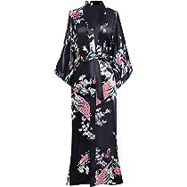 Taille Unique BABEYOND Kimono Long en Satin Robe de chambre Longue pour Femme Peignoir Long Satin avec Motif Grue