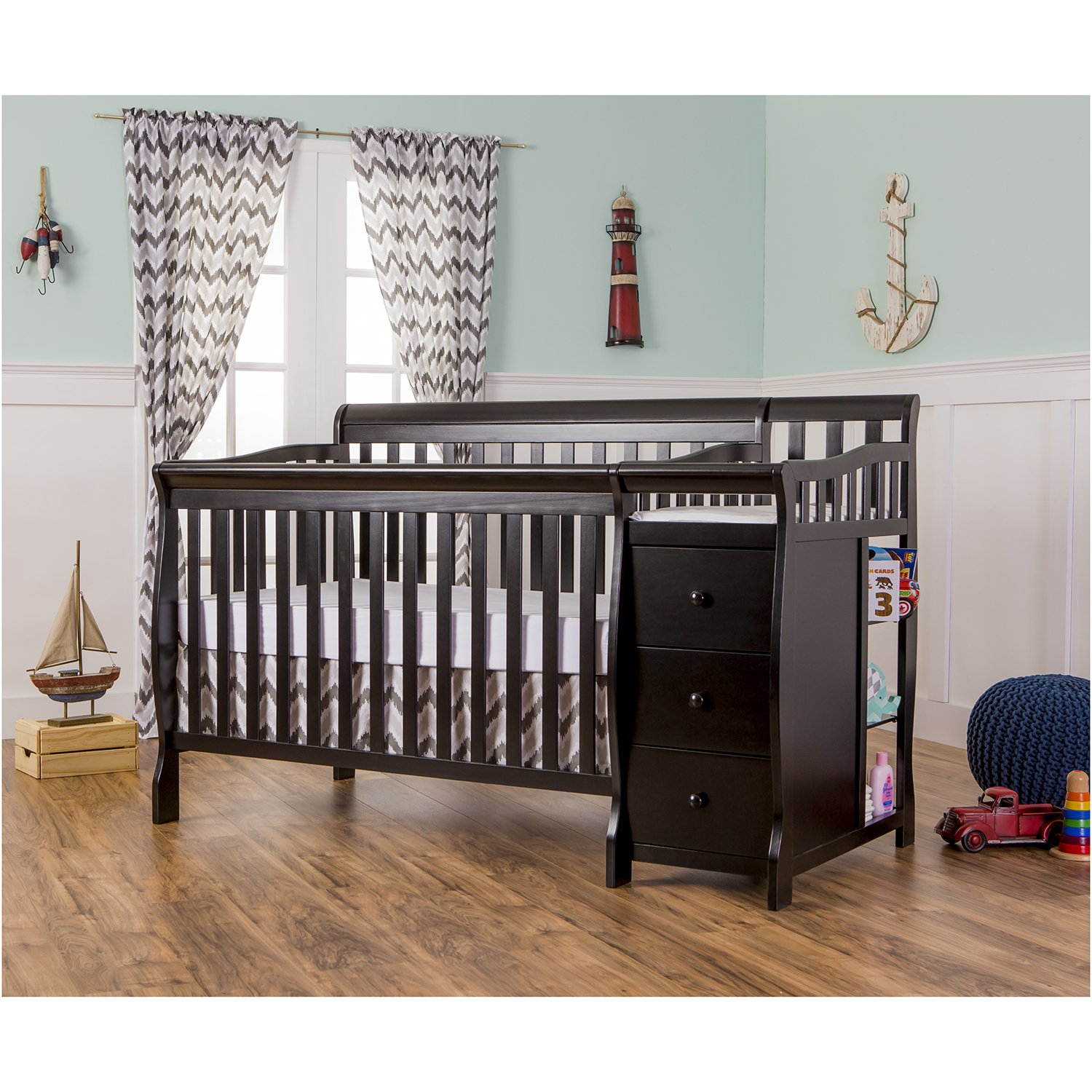Amazon.com : Dream On Me 5 In 1 Brody Convertible Crib With Changer, Black  : Baby