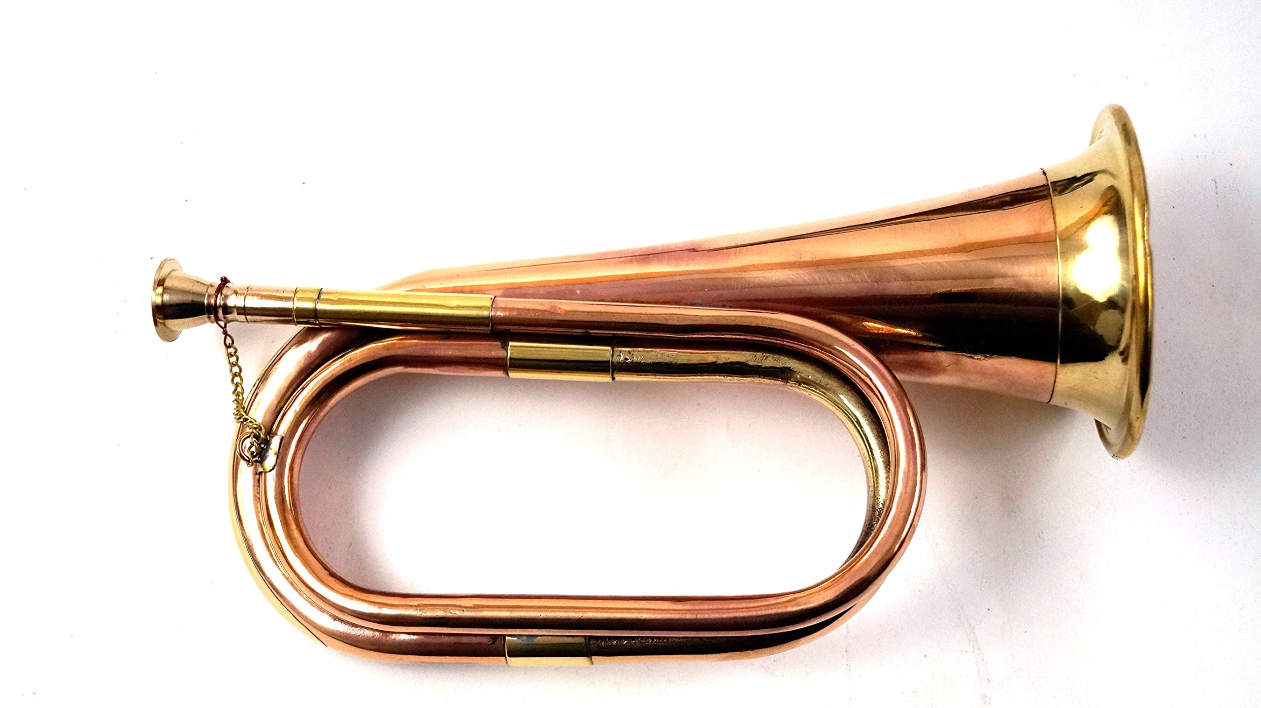 Little India Real Full Size Pure Brass Bugle To Play Brown