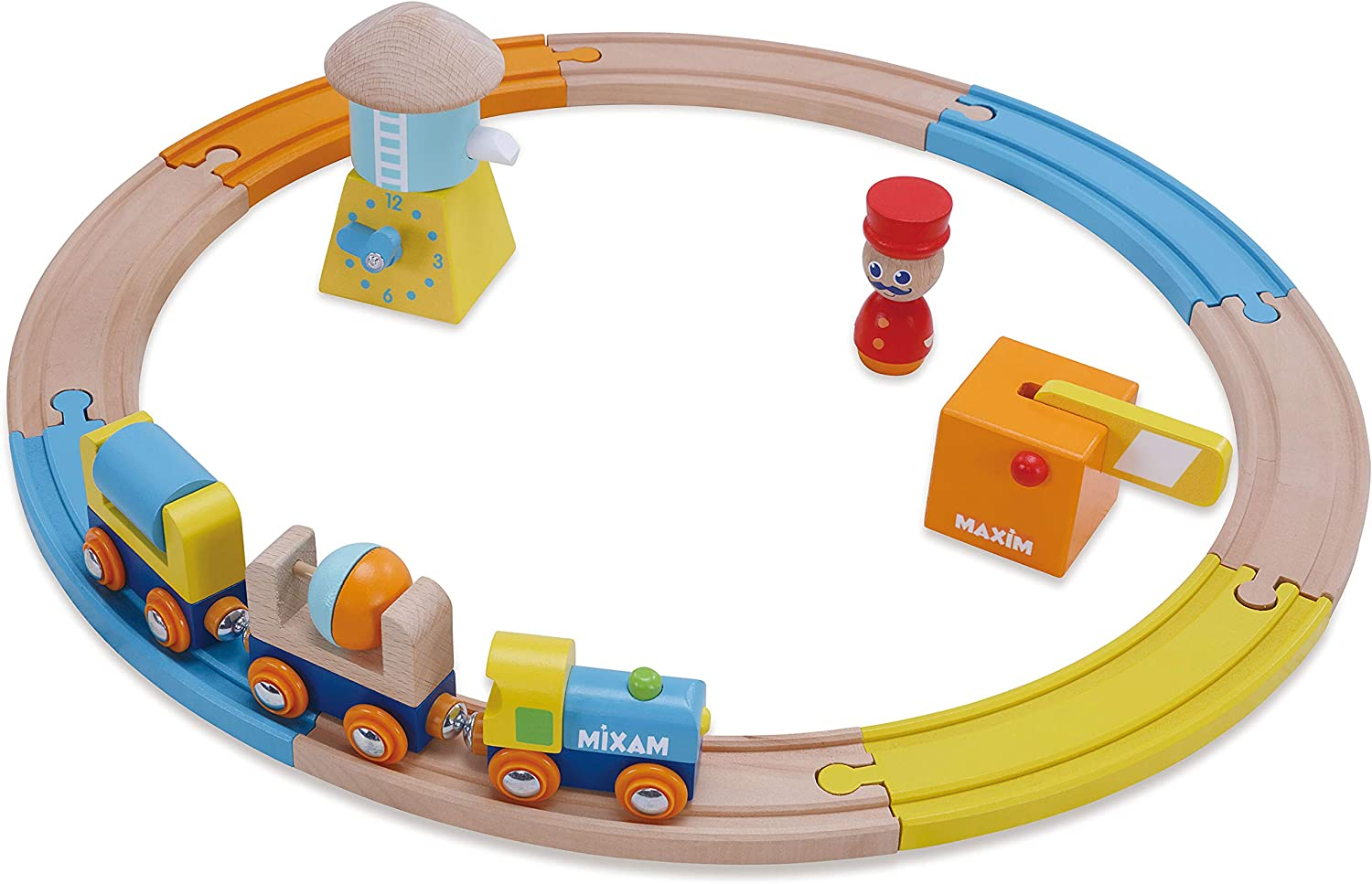 Wooden Railway Train Set for Kids Boys /& Girls Love 8 Piece Starter Track Pack with Water Tower Toddlers Ages 18mo Plus 2 Cars Compatible with All Major Brands Conductor Engine Crossing Gate