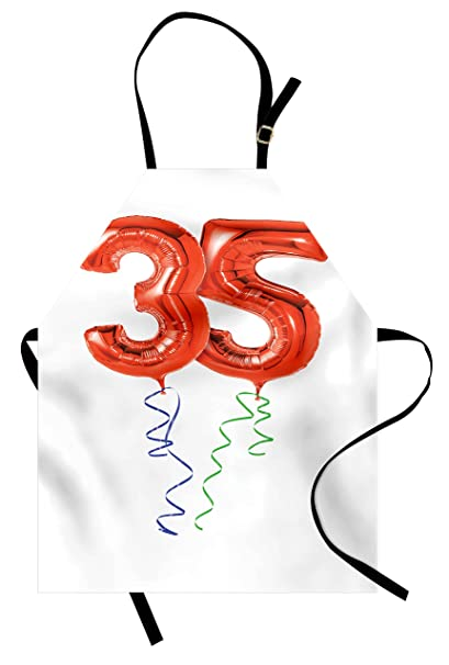 Ambesonne 35th Birthday Apron Vivid Colored Balloons Flying With Curly Ribbons 35 Years Old Themed