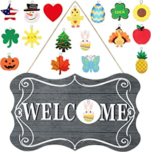 Jetec Interchangeable Seasonal Welcome Sign Rustic Wooden Welcome Sign Farmhouse Front Door Decor Wall Hanging Sign for Fall Christmas Easter Valentines Thanksgiving (Gray)