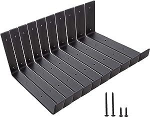 Home Master Hardware 9 Inch Heavy Duty J Shelf Brackets with Lip Floating Hook Iron L Shelf Bracket Wall Mounted Rustic Shelving Support Brackets Black 10 Pack