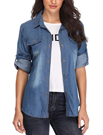 b150fd9d238 MISS MOLY Women s Long Sleeves Cotton Washed Denim Shirt Slim Blouse Top  with Western Pockets (