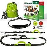 Hands Free Dog Leash + Training Running Walking Leash & Double Leash Set, Fits 2 Dogs + Reflective Leash • Adjustable Waist Belt + Strong Bungee Leash + Poop Bag Holder • by Take Yankee