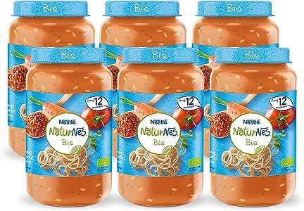 Naturnes Bio Volkoren Spaghetti, Tomaat, Wortel, Rundvlees 12+ Maanden Babymaaltijd, 6 Potjes van 190 Gram