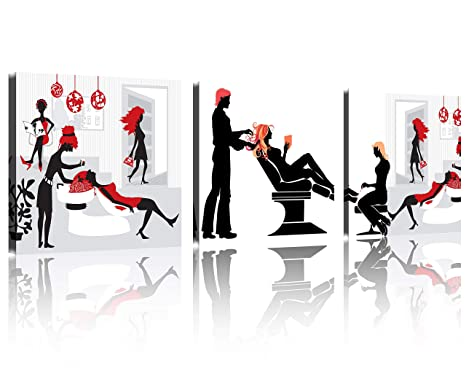 TutuBeer Art Huge Hair Salon Picture Painting on Canvas Print Stretched and  Framed, Modern Home Decorations Wall Art Set of 3 Each is 5050cm