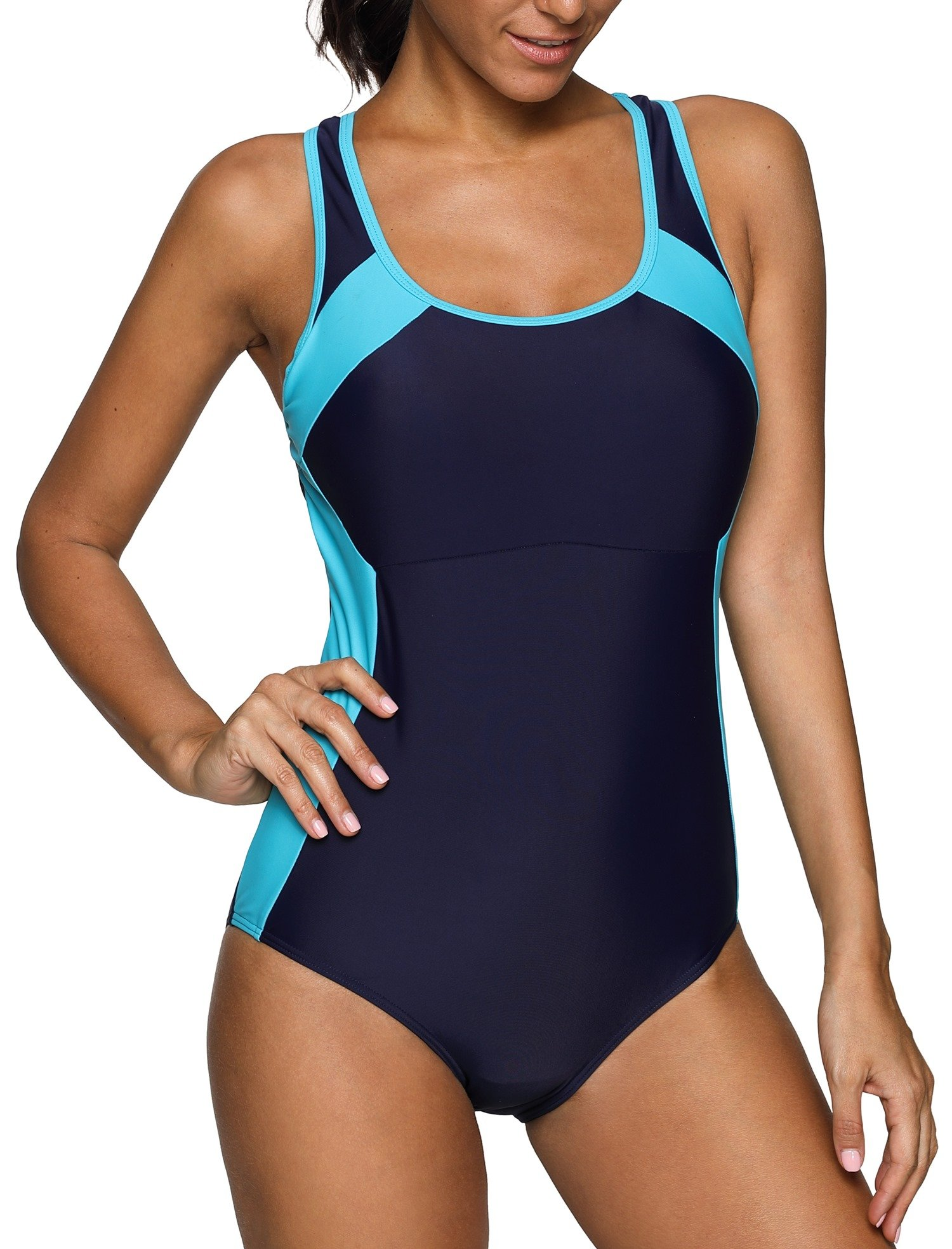 ATTRACO Womans Slimming One Piece Sporty Racerback Bathing Suit Swimsuit Navy XXL by ATTRACO