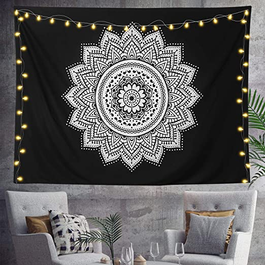 Black Flower Wall Hanging Tapestry Psychedelic Bedroom Home Decoration