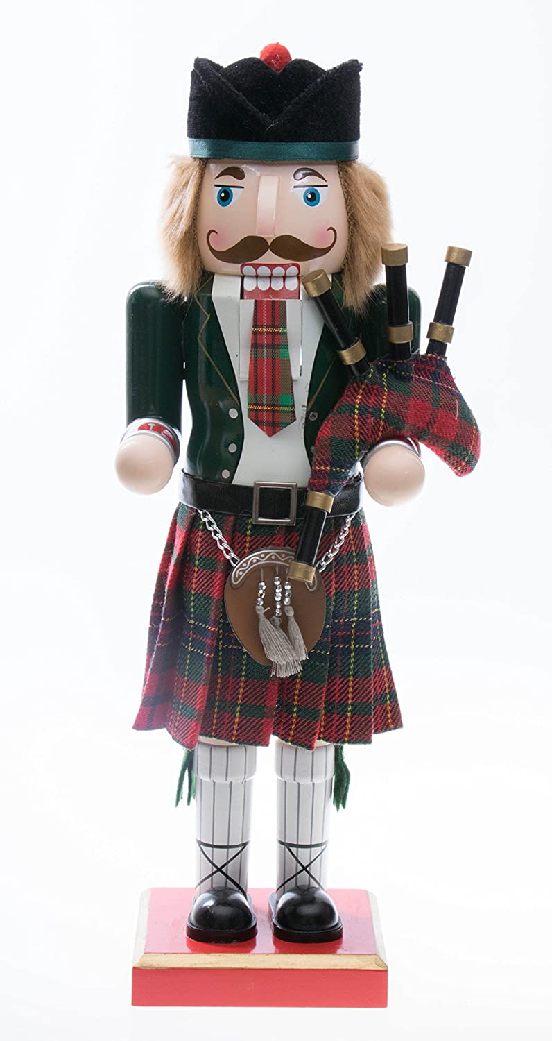 Traditional Wooden Scottish Green Soldier Collectible Nutcracker with Bagpipes | Festive Christmas Decor | Perfect for Shelves and Tables | 100% Wood