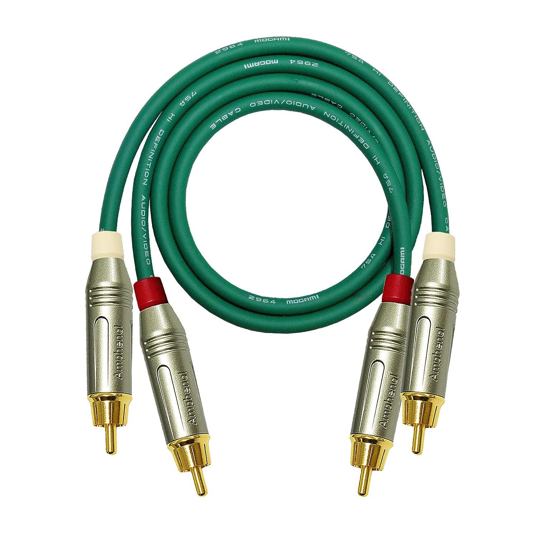 1 Meter cable RCA par - fabricado con Mogami 2964 (verde) Cable de interconexión de Audio de alta definición y Amphenol ACPR cuerpo de fundición, ...