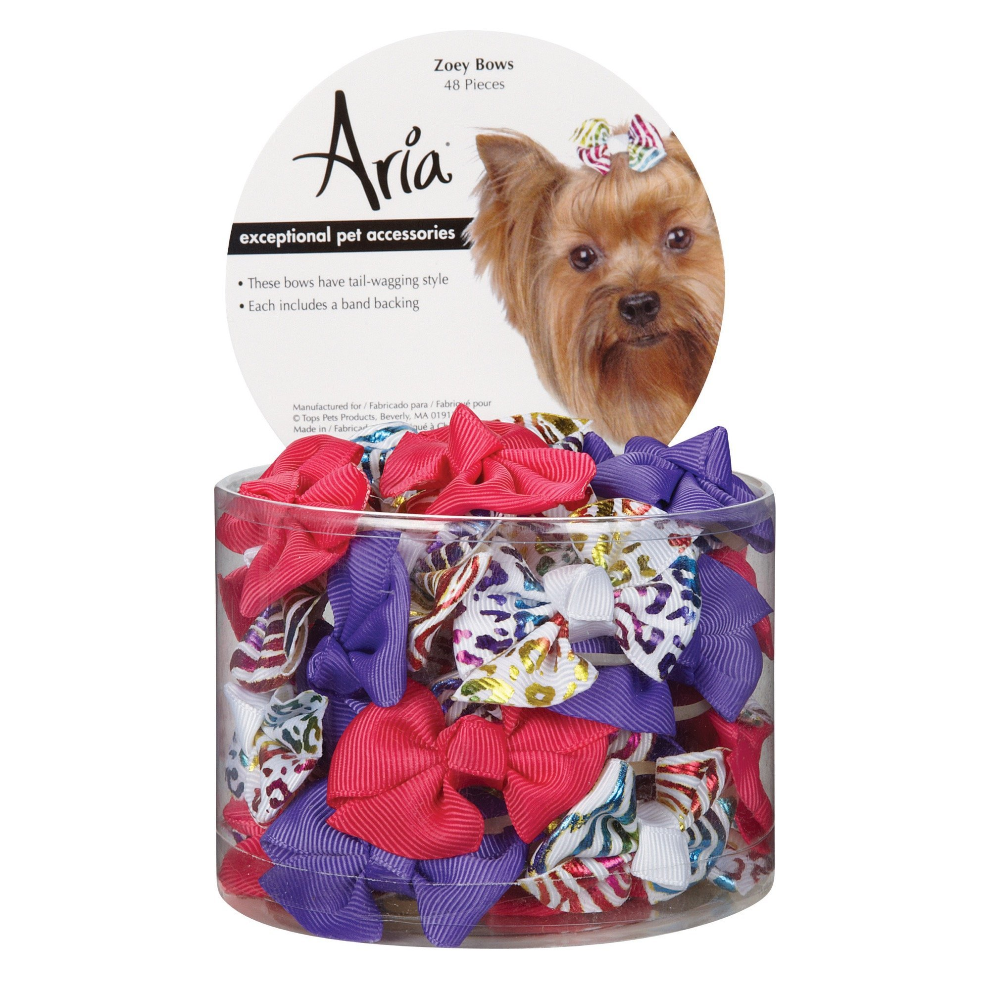 Aria Zoey Bows for Dogs, 48-Piece Canisters