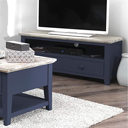Florence Navy Blue Tv Unit With Shelf And 2 Drawers Quality Tv Stand With Storage Fully Assembled Amazon Co Uk Kitchen Home