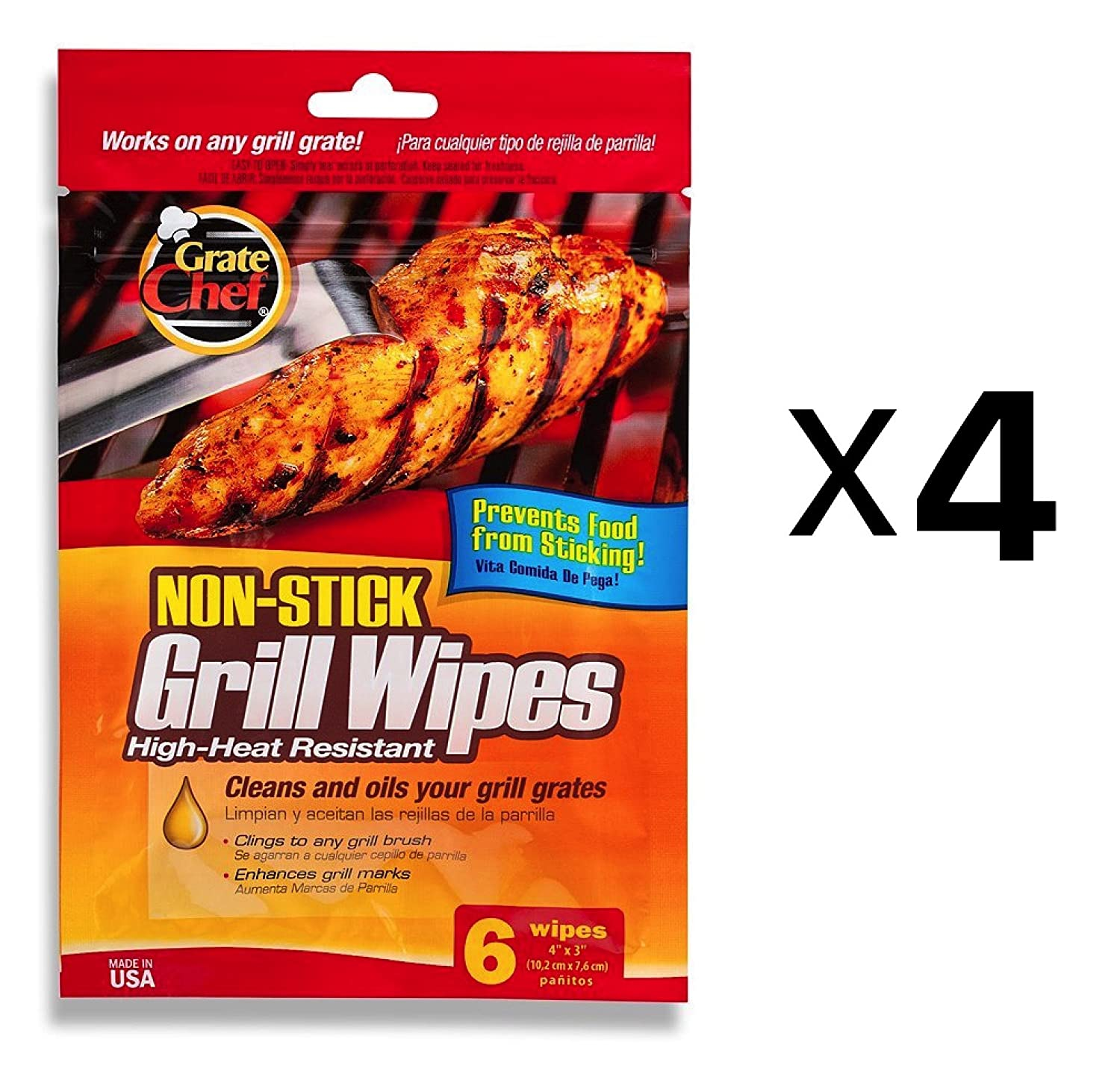 Grate Chef BBQ Grill Wipes Surface Cleaner Harold Import Nontoxic Safer (4-Pack) Harold Imports 50110