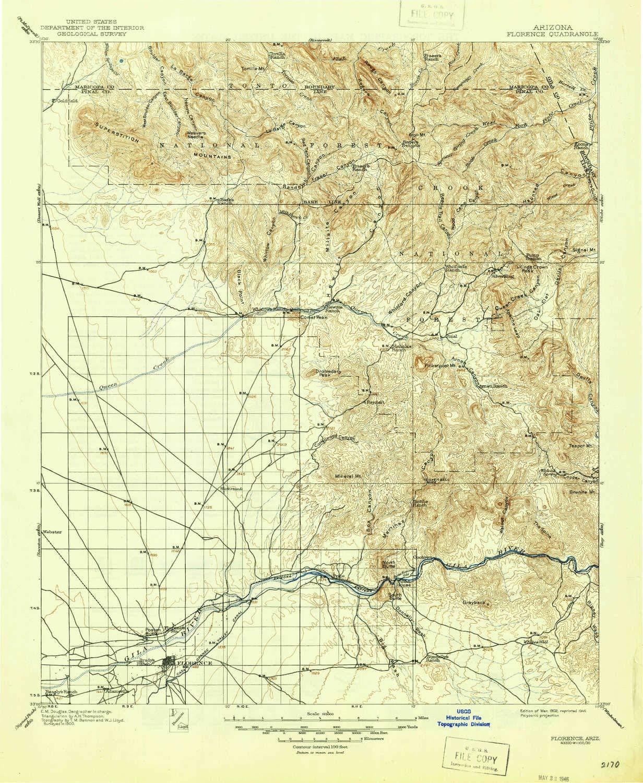 Topographic Map Arizona.Amazon Com Yellowmaps Florence Az Topo Map 1 125000 Scale 30 X 30