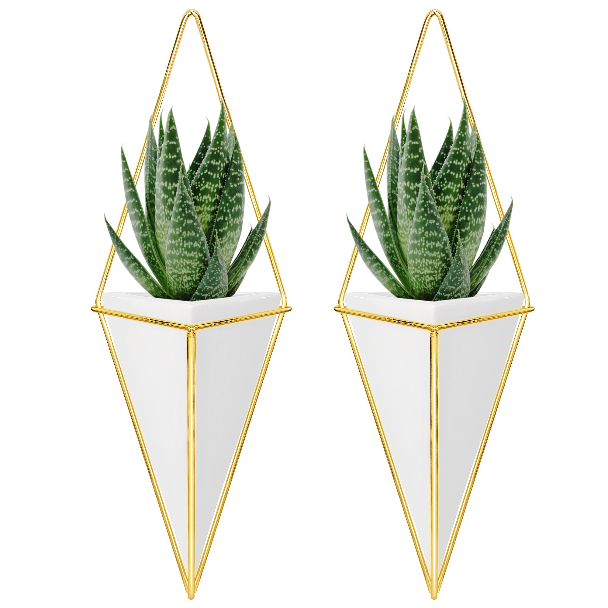 Nellam Ceramic Planter Set - 2 Pcs Modern Geometric Hanging Wall Pots - Brass Framed, Mounted Decorative Vases & Container for Indoor Plants & Succulents - for Flowers, Herbs, Vegetables