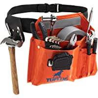 """Single Pouch Tool Belt, Industrial-Strength 1000D PVC Vinyl, 46"""" Adjustable Waist - Multipurpose Utility Pouches with…"""