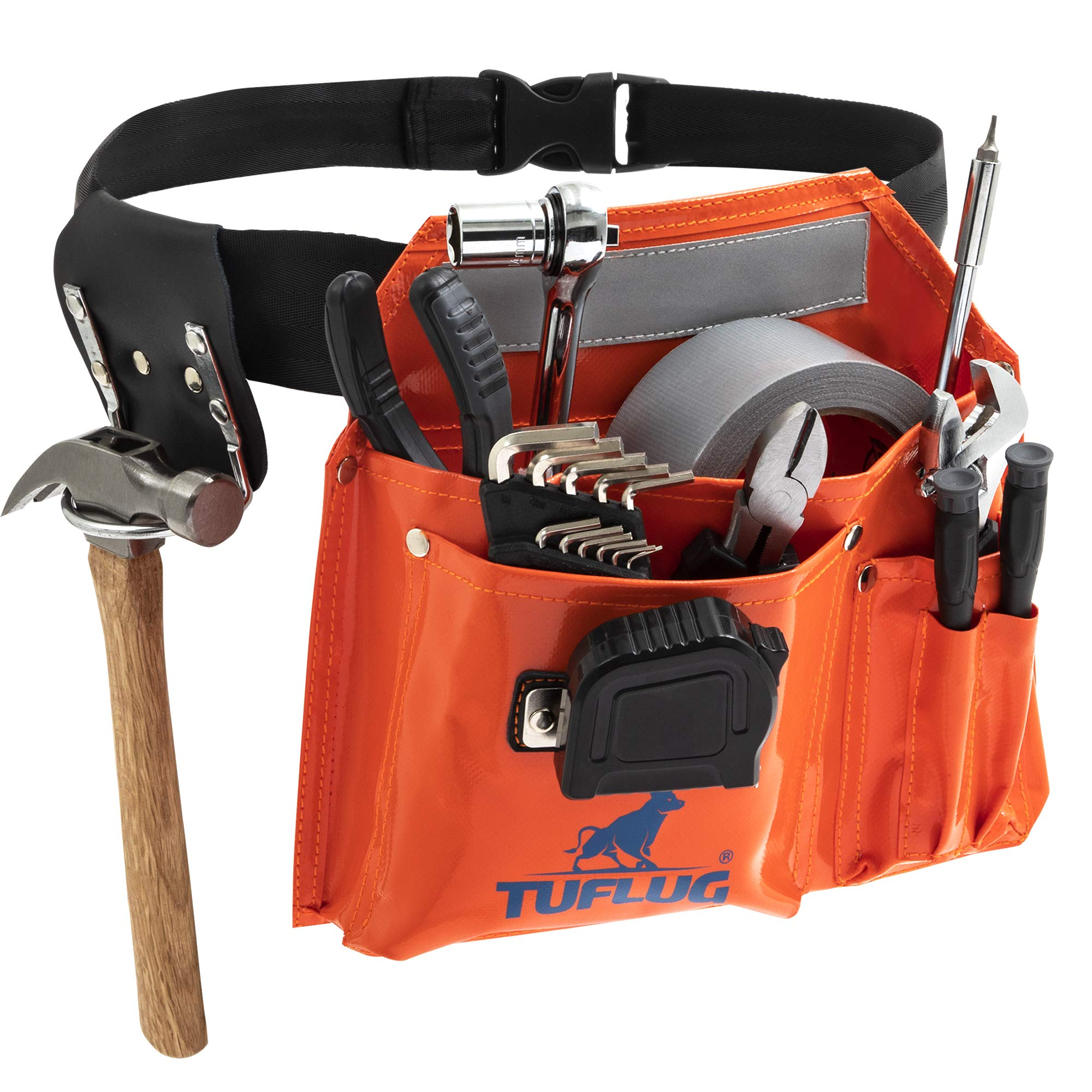 Single Pouch Tool Belt, Industrial-Strength 1000D PVC Vinyl, 46inch Adjustable Waist - Multipurpose Utility Pouches with Pockets for Tools, Hammer, Measuring Tape - Durable, Lightweight Belts by TUFLUG