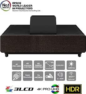 Epson EH-LS500B 4K Pro-UHD - Proyector láser de Ultra Corta Distancia (4000 lúmenes, relación de Contraste 2.5000.000:1), Color Negro
