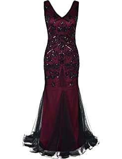 kayamiya Women 1920s Long Prom Gown Beaded Sequin Gatsby Formal Evening Dress