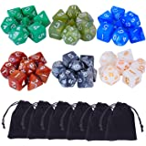 eBoot 42 Pieces (6 x 7) Polyhedral Dices Game Dices Assorted Colors for Dungeons and Dragons DND MTG RPG with 6 Pack Black Pouches, 6 Sets of d20, d12, 2 d10 (00-90 and 0-9), d8, d6 and d4