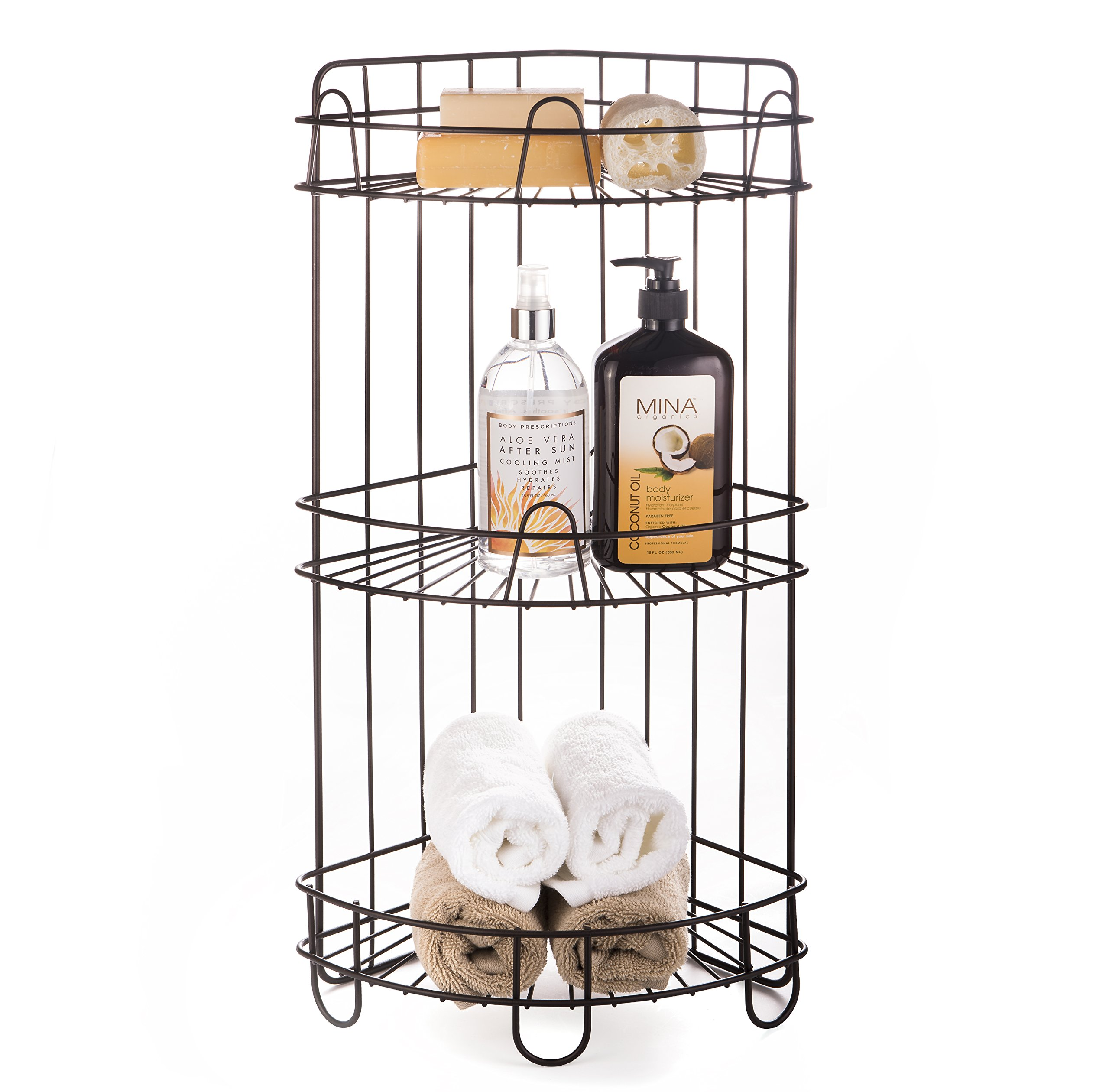 AMG and Enchante Accessories Free Standing Bathroom Spa Tower Storage Corner Caddy, FC100006 ORB, Oil Rubbed Bronze