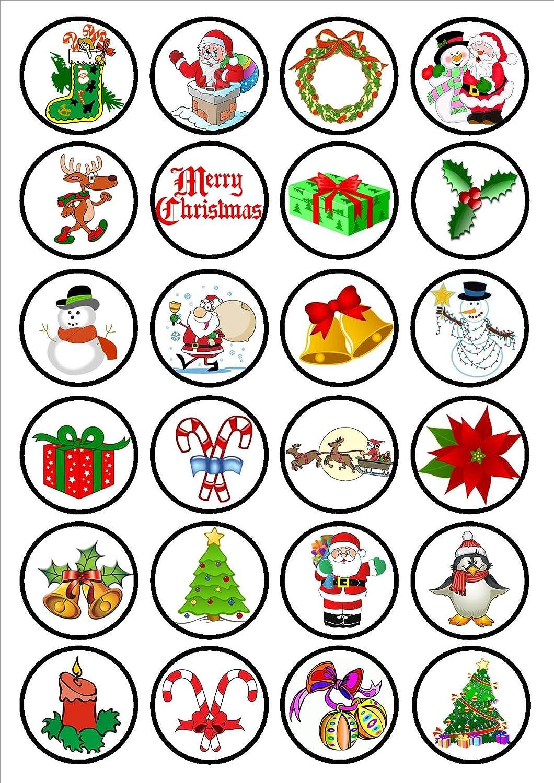 24 Adornos para Cupcakes comestibles con diseño navideño con Texto ...