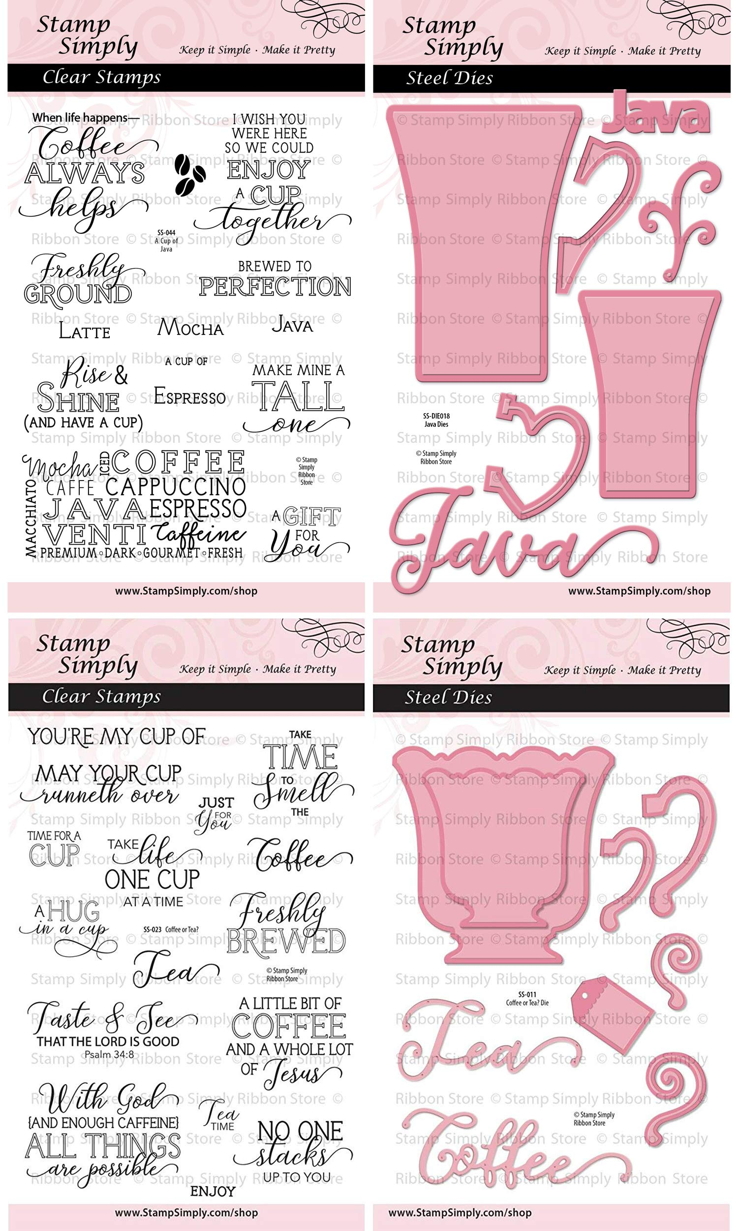 Stamp Simply Clear Stamps A Cup of Java and Coffee or Tea with Mug Dies Christian Religious (4-Pack) 4x6 Inch Sheets - 46 Pieces
