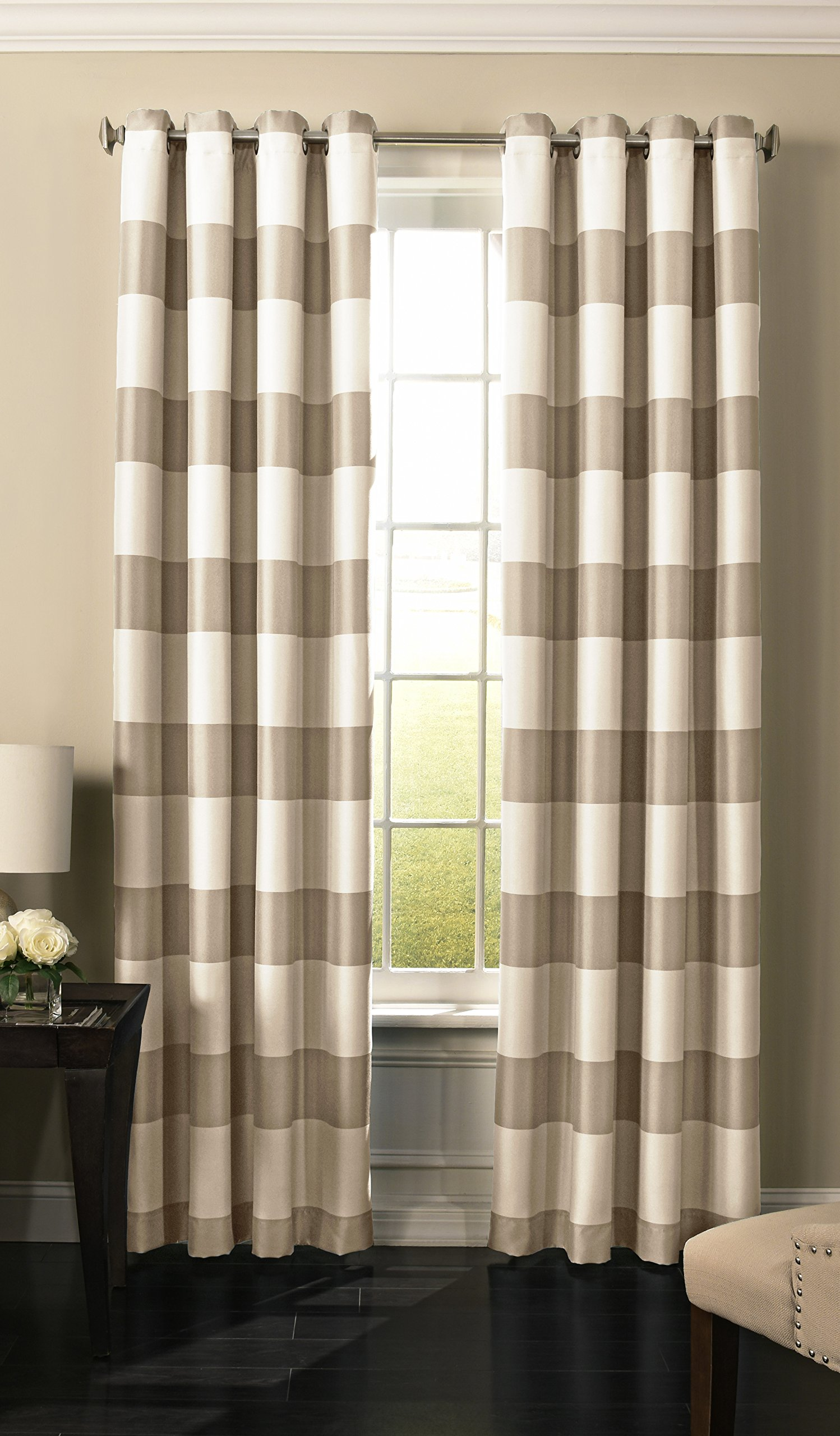 """BEAUTYREST 52"""" x 95"""" Insulated Darkening Single Panel Grommet Top Window Treatment Living Room, Natural - 1.65 inch brushed nickel grommets are recommended with up to a 1 inch rod 52 inches wide with extended lengths of 63, 84, 95 and 108 inches Sold as a single, lined panel - living-room-soft-furnishings, living-room, draperies-curtains-shades - 81spGzDejXL -"""
