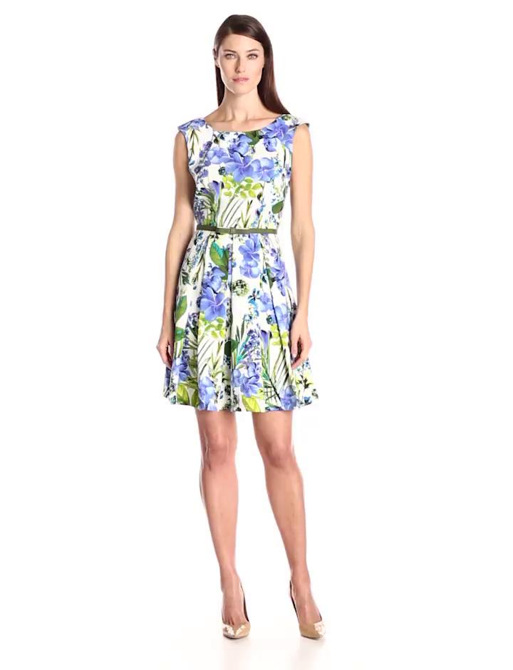 Julian Taylor Women's Cap Sleeve Dress, Peri Green/Multi, 10