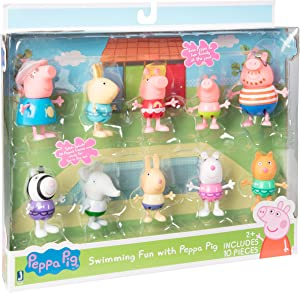 Peppa Pig Swimming Fun Pool Party Playset - Includes 10 Family & Friends Toy Character Figures - Ages 2+