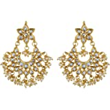 Jewellity Kundan and Pearl Golden White Party Wear Wedding Designer Chandbali Earrings For Women ERK-549